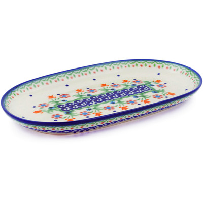 "Polish Pottery Platter 9"" Spring Flowers"