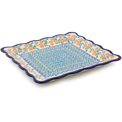 "Polish Pottery Platter 9"" Tulip Vines"