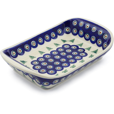 "Polish Pottery Platter with Handles 10"" Peacock Pines"