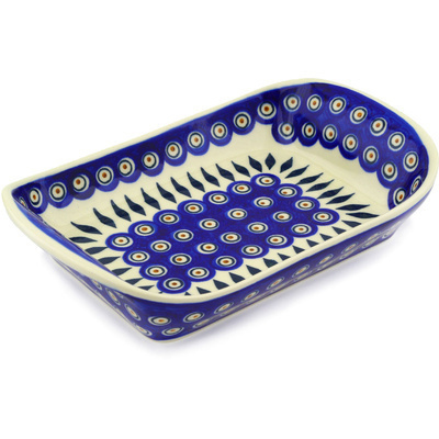 "Polish Pottery Platter with Handles 11"" Peacock"