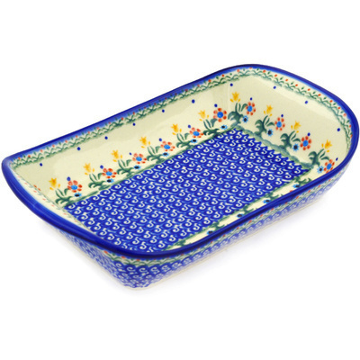 "Polish Pottery Platter with Handles 11"" Spring Flowers"