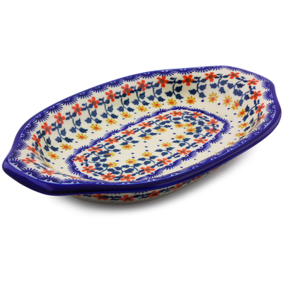 "Polish Pottery Platter with Handles 12"" Red Sunflower"