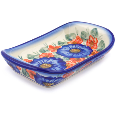 "Polish Pottery Platter with Handles 7"" Flowers In Bloom UNIKAT"