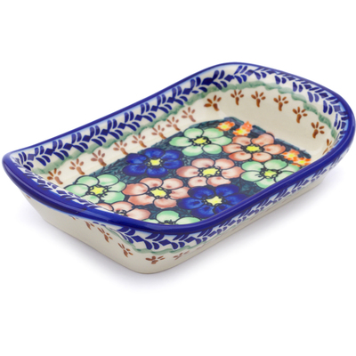 "Polish Pottery Platter with Handles 7"" Poppy Garden UNIKAT"