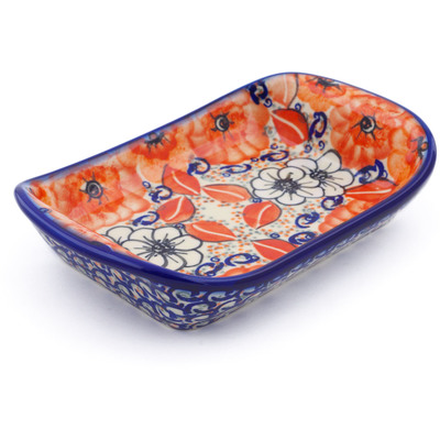 "Polish Pottery Platter with Handles 7"" Poppy Passion UNIKAT"