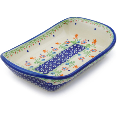 "Polish Pottery Platter with Handles 7"" Spring Flowers"