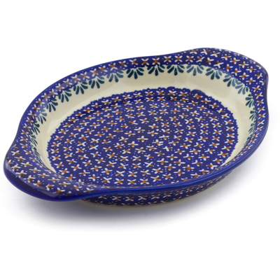 "Polish Pottery Platter with Handles 9"" Blue Cress UNIKAT"