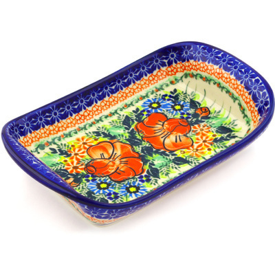 "Polish Pottery Platter with Handles 9"" Bold Poppies UNIKAT"