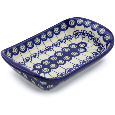 "Polish Pottery Platter with Handles 9"" Flowering Peacock"