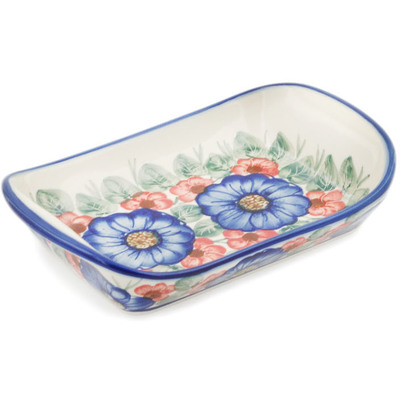 "Polish Pottery Platter with Handles 9"" Flowers In Bloom UNIKAT"