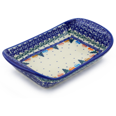 "Polish Pottery Platter with Handles 9"" Holiday Drive"