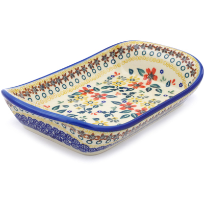 "Polish Pottery Platter with Handles 9"" Red Anemone Meadow UNIKAT"