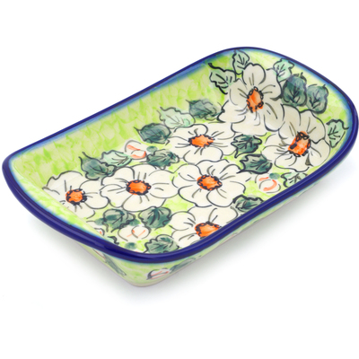 "Polish Pottery Platter with Handles 9"" White Flower Bouquet UNIKAT"