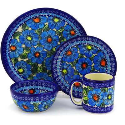 "Polish Pottery Polish Pottery Place Setting 4-Piece: 10½"" dinner plate, 7½"" dessert or side plate, 5¼"" bowl and a 12 oz mug Bold Blue Poppies UNIKAT"