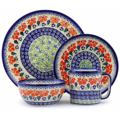 "Polish Pottery Polish Pottery Place Setting 4-Piece: 10½"" dinner plate, 7½"" dessert or side plate, 5¼"" bowl and a 12 oz mug Grecian Fields"