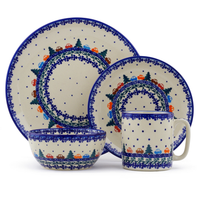 "Polish Pottery Polish Pottery Place Setting 4-Piece: 10½"" dinner plate, 7½"" dessert or side plate, 5¼"" bowl and a 12 oz mug Holiday Drive"