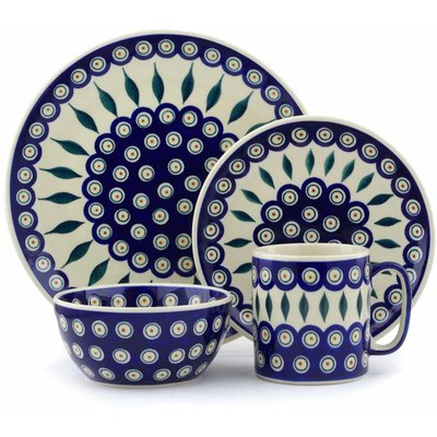 "Polish Pottery Polish Pottery Place Setting 4-Piece: 10½"" dinner plate, 7½"" dessert or side plate, 5¼"" bowl and a 12 oz mug Peacock"