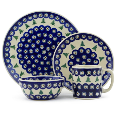 "Polish Pottery Polish Pottery Place Setting 4-Piece: 10½"" dinner plate, 7½"" dessert or side plate, 5¼"" bowl and a 12 oz mug Peacock Pines"