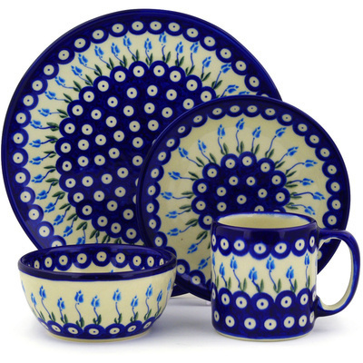 "Polish Pottery Polish Pottery Place Setting 4-Piece: 10½"" dinner plate, 7½"" dessert or side plate, 5¼"" bowl and a 12 oz mug Peacock Tulip Garden"