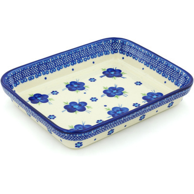 "Polish Pottery Rectangular Baker 10"" Bleu-belle Fleur"