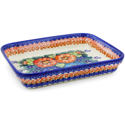 "Polish Pottery Rectangular Baker 10"" Butterfly Splendor UNIKAT"