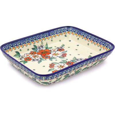 "Polish Pottery Rectangular Baker 10"" Flower Heaven UNIKAT"