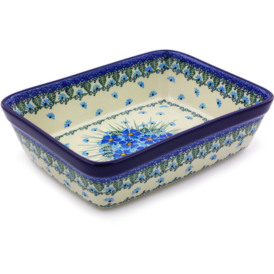 "Polish Pottery Rectangular Baker 10"" Forget Me Not"