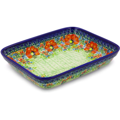 "Polish Pottery Rectangular Baker 10"" Garden Meadow UNIKAT"