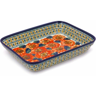 "Polish Pottery Rectangular Baker 10"" Peach Poppies UNIKAT"