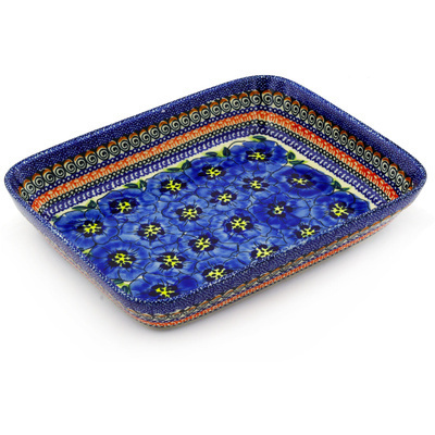 "Polish Pottery Rectangular Baker 10"" Regal Bouquet UNIKAT"