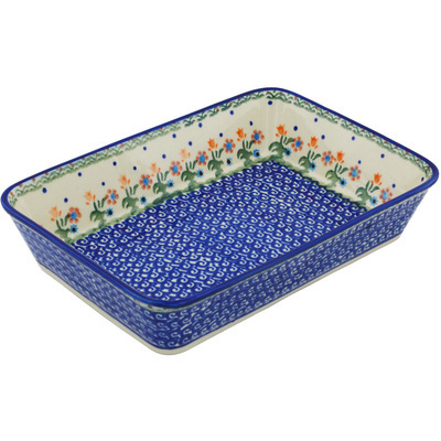 "Polish Pottery Rectangular Baker 10"" Spring Flowers"