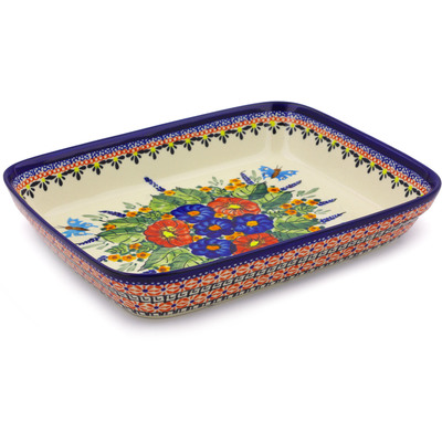 "Polish Pottery Rectangular Baker 10"" Spring Splendor UNIKAT"