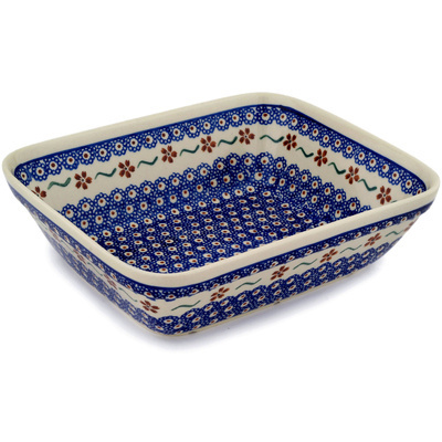 "Polish Pottery Rectangular Baker 10"" Sweet Red Flower"