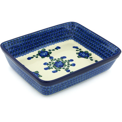 "Polish Pottery Rectangular Baker 11"" Blue Poppies"