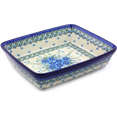 "Polish Pottery Rectangular Baker 11"" Forget Me Not"