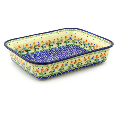 "Polish Pottery Rectangular Baker 11"" Spring Flowers"