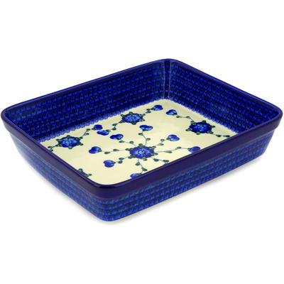 "Polish Pottery Rectangular Baker 12"" Blue Poppies"