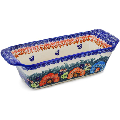 "Polish Pottery Rectangular Baker 12"" Butterfly Splendor UNIKAT"