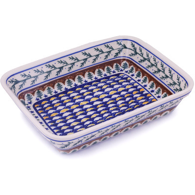 "Polish Pottery Rectangular Baker 12"" Pine Boughs"