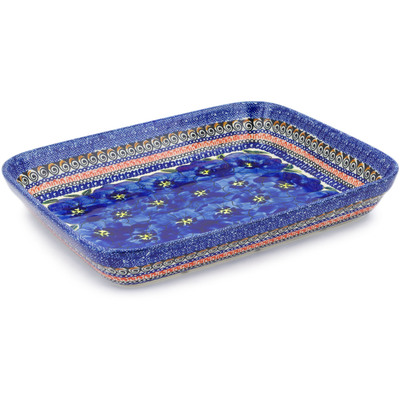 "Polish Pottery Rectangular Baker 12"" Regal Bouquet UNIKAT"