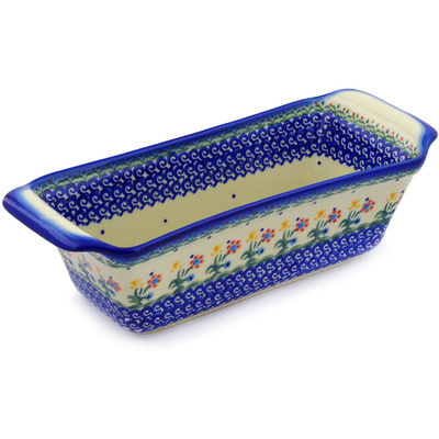 "Polish Pottery Rectangular Baker 12"" Spring Flowers"