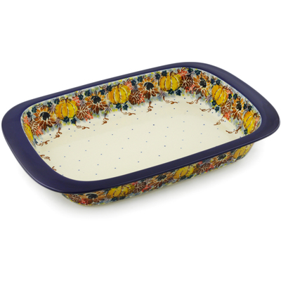 "Polish Pottery Rectangular Baker 13"" UNIKAT"