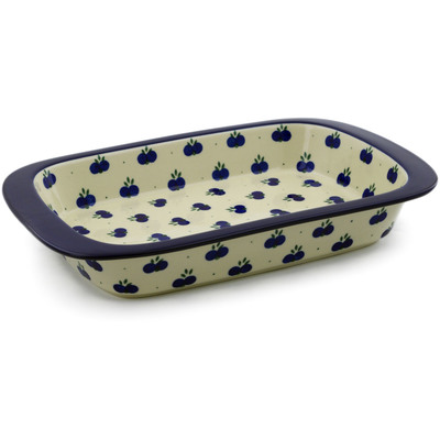 "Polish Pottery Rectangular Baker 13"" Wild Blueberry"