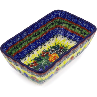 "Polish Pottery Rectangular Baker 6"" Copper Rose Meadow UNIKAT"