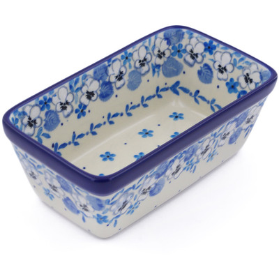 "Polish Pottery Rectangular Baker 6"" White Pansy"