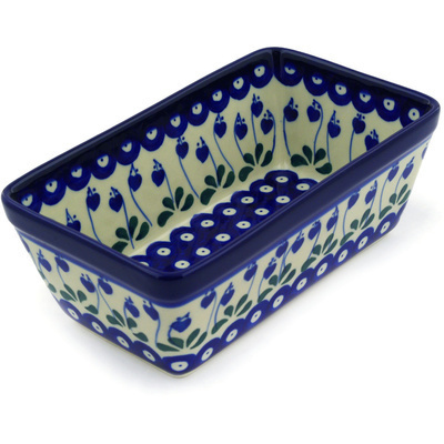 "Polish Pottery Rectangular Baker 8"" Bleeding Heart Peacock"