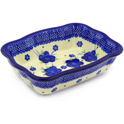 "Polish Pottery Rectangular Baker 8"" Bleu-belle Fleur"