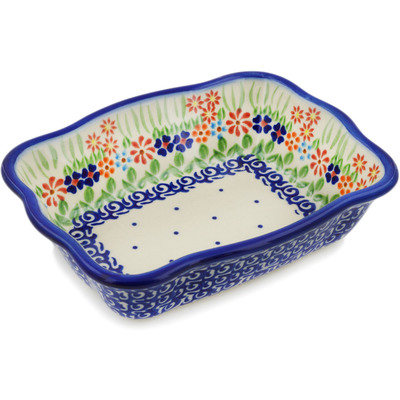 "Polish Pottery Rectangular Baker 8"" Blissful Daisy"
