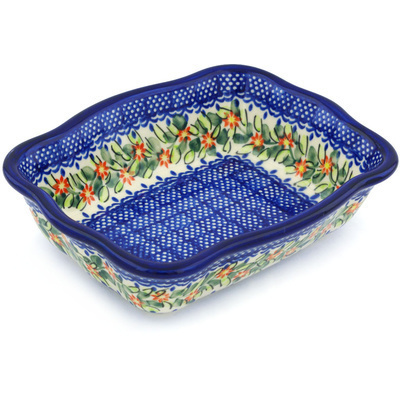 "Polish Pottery Rectangular Baker 8"" Elegant Garland"