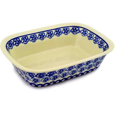 "Polish Pottery Rectangular Baker 9"" Hawaiian Pansy"